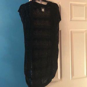 Black short sleeved long cardigan